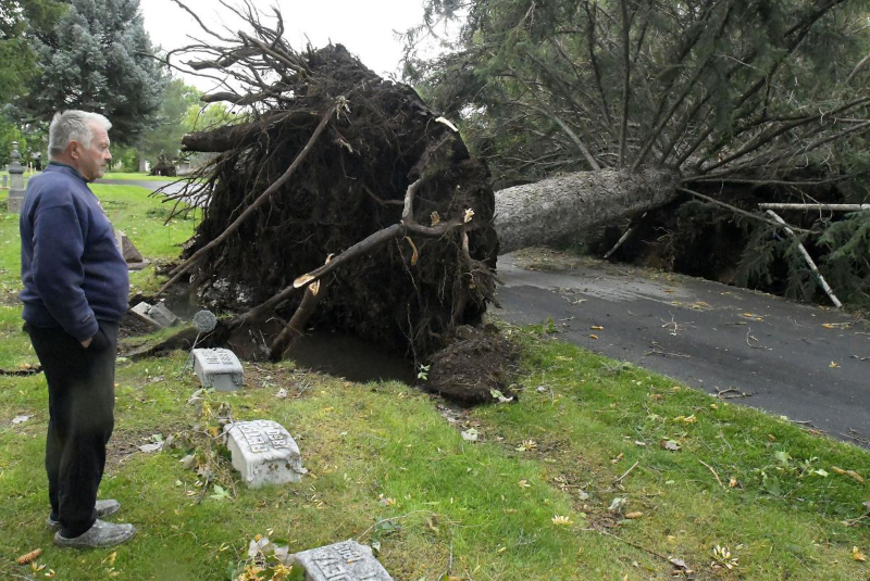 storm damage in Cache Valley cemetary